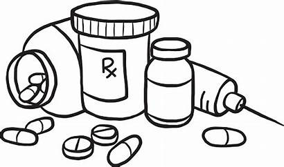 Medicine Coloring Clipart Drugs Bottle Pages Drawing