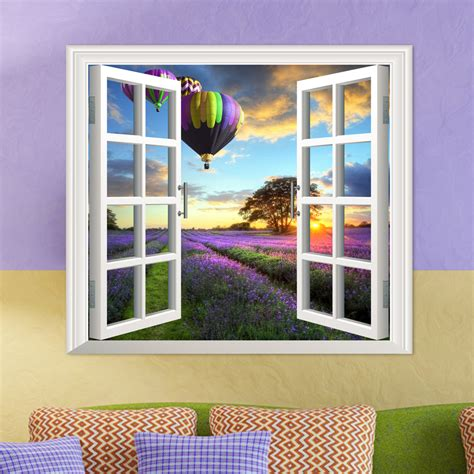 Modern wooden wall decor design ideas and living room interior wall decorating ideas 2021 from decor puzzle channelwooden wall decorations for home interior. Lavender PAG 3D Artificial Window Wall Decals Fire Balloon Room Stickers Home Wall Decor Gift ...