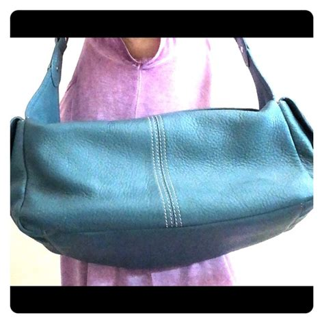 hype bags teal leather handbag  wooden handle poshmark