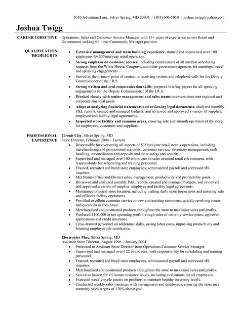 resume exle retail store manager exles strengths and