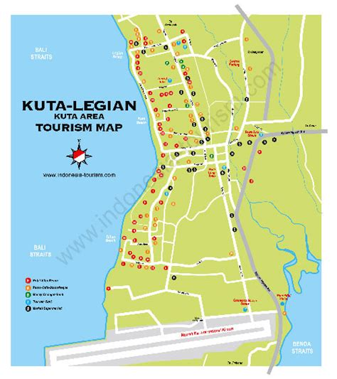kuta legian bali map bali island indonesia tourism maps