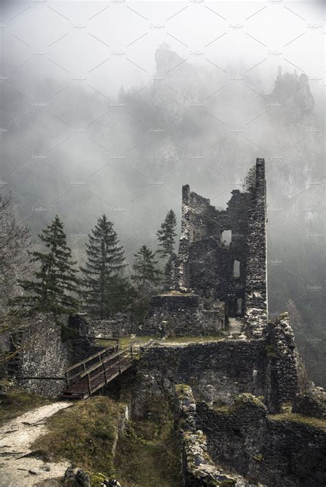 abandoned castle ruins   forest architecture