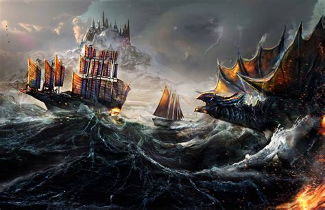 Dragon Fight Ocean Ship Painting 5k, Hd Artist, 4k Wallpapers, Images, Backgrounds, Photos And
