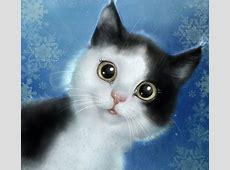 Гиф анимация Чернобелый кот на фоне снежинок
