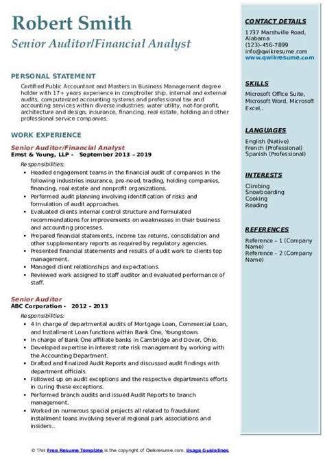 senior auditor resume samples qwikresume