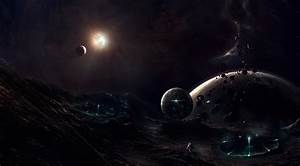 Wallpaper space, planet, stars, spaceship, asteroid, night ...