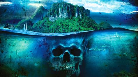 sea fantasy art ship skull island shark boat