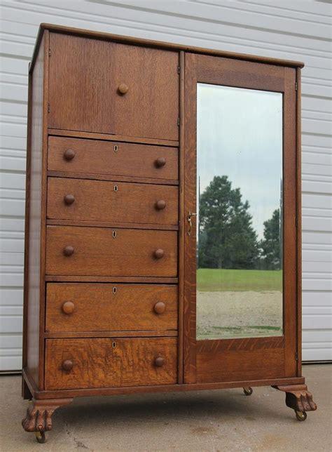 Oak Bedroom Armoire by Antique Oak Clawfoot Mirrored Chifferobe Wardrobe Armoire