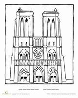 Dame Notre Coloring Drawing Famous Pages Landmarks Worksheets Worksheet Education Paris Cathedral France Landmark French European Artists Sketch Club Spring sketch template