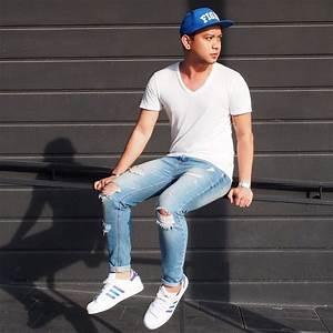DADA FAB - Penshoppe Fight Cap Armani Exchange White V Neck Shirt Zara Ripped Jeans Adidas ...