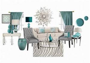 A modern mix of teal, grey and white living room with
