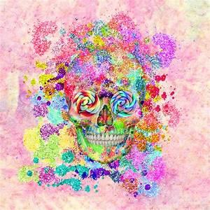 Girly Sugar Skull Pink Glitter Fine Art Paint Art Print by ...