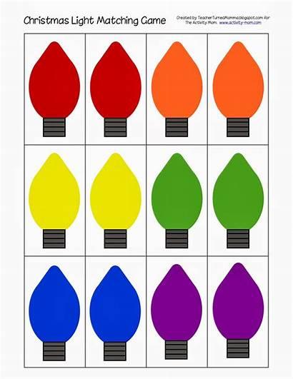 Christmas Matching Lights Printable Clipart Preschool Activity