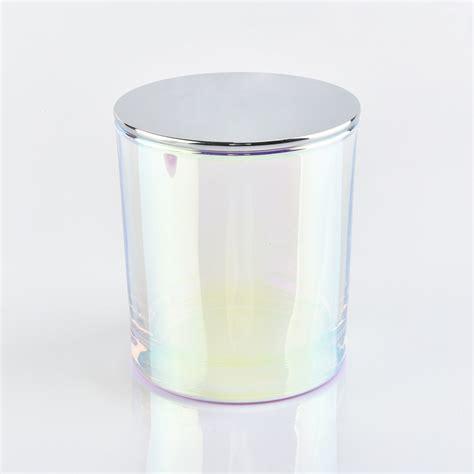 luxury iridescent glass candle jar  lid  okcandlecom