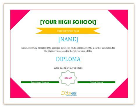 diploma certificate template high school dotxes
