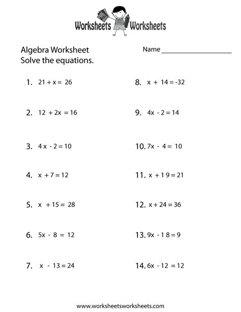 simple algebra worksheet  printable educational