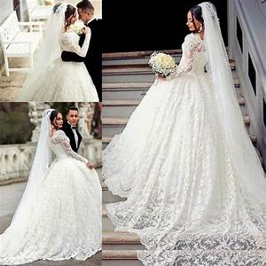 2017 ball gown lace wedding dress arabic style appliques With robe droite avec voile