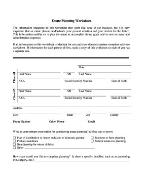 Estate Planning Worksheet Domestic Partners Fillable 2012pdf Fill Online, Printable, Fillable