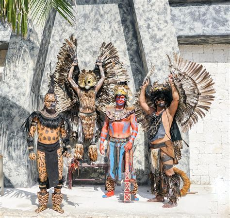 photo mexico warriors posing costumes