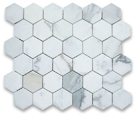 calacatta gold 2 inch hexagon mosaic tile honed marble