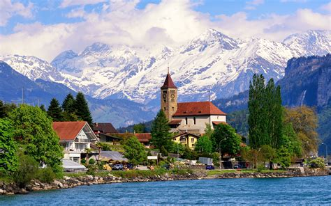 brienz village  switzerland lake houses snowy mountains