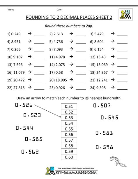 worksheets rounding to decimal places rounding decimal places rounding numbers to 2dp