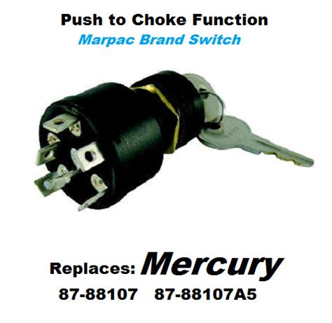 boat ignition key switch push  choke mercury outboard