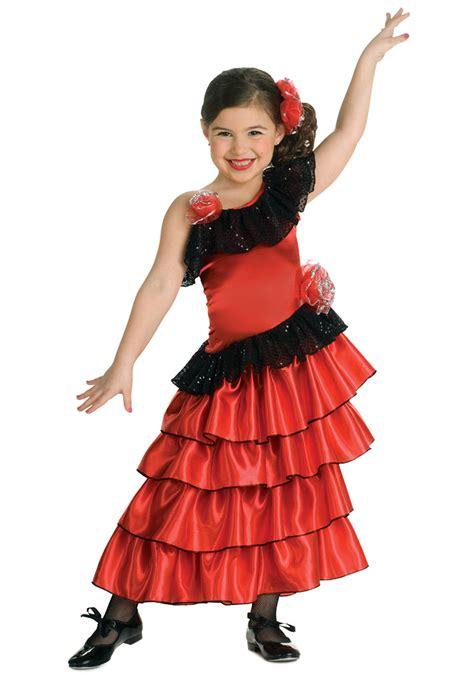 Girls Spanish Flamenco Dancer Costume