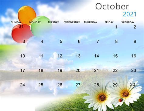 Cute October 2021 Calendar Wallpaper - Zhudamodel