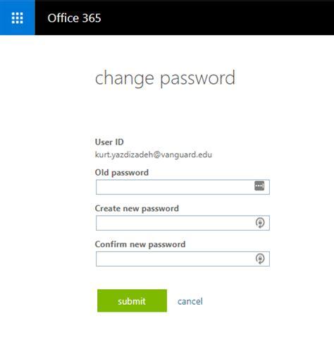 Office 365 Outlook Password Reset by Reset Password In Office 365 Vanguard