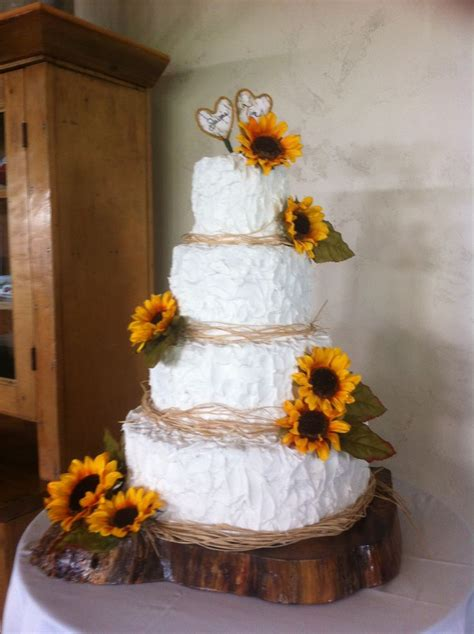Sunflower Wedding Cake With Wood Base Cake Ideas