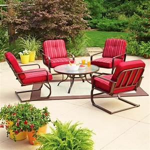 Mainstays lawson ridge 5 piece patio conversation set red for Mainstays patio furniture