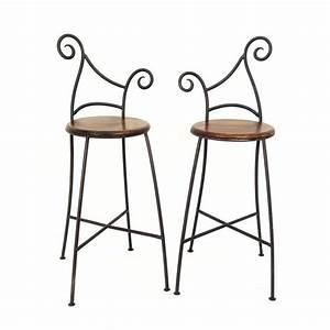 Tabouret De Bar Fer : tabourets de bar fer forg et palissandre style industriel ~ Dallasstarsshop.com Idées de Décoration
