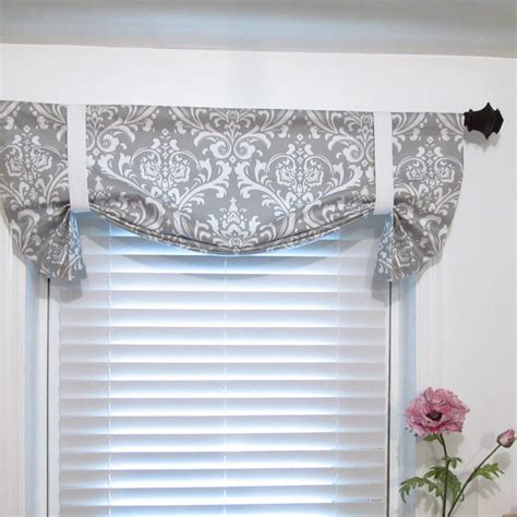 tie  curtain valance gray white damask  supplierofdreams