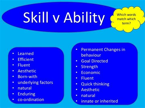 As Pe Skills, Abilities And Classification 2013