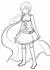 Rwby Ruby Lineart Coloring Character Template Deviantart Sketch Link Stats sketch template