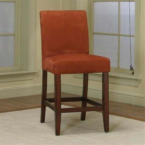 counter height dining chair with brick micro suede fabric