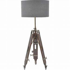buy dark wood tripod floor lamp with grey shade from With contemporary dark wood floor lamp with shade