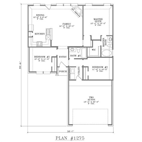 Open Concept Home Plans by One Story House Plans With Open Concept Plan 1275 Floor