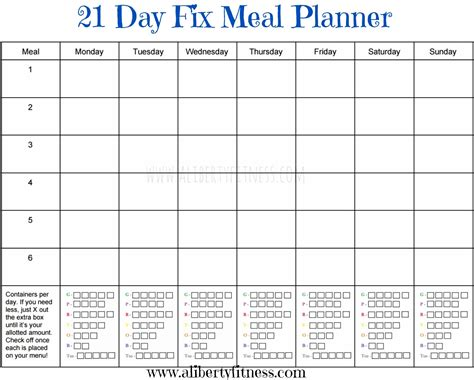 grace grit  day fix meal planner  grocery list