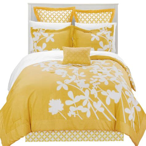 iris yellow and white queen 11 piece comforter bed in a