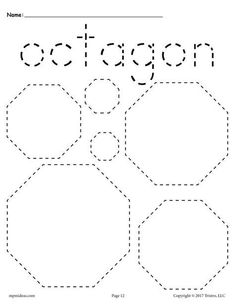 Free Octagons Tracing Worksheet  Tracing Shapes Worksheets Supplyme
