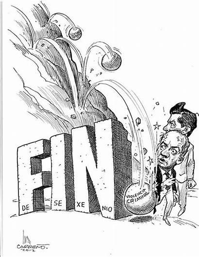 Nieto Felipe Caricatura Calderon Mexico Fin Sexenio