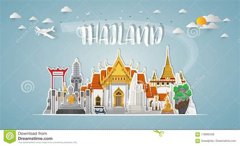 Thailand Landmark Global Travel And Journey Paper
