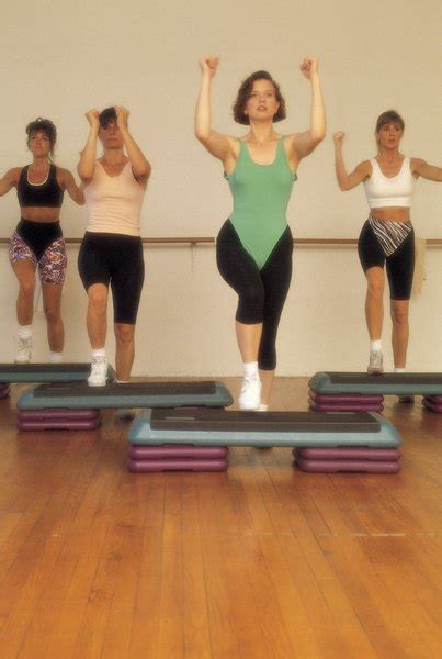 step aerobic movements woman