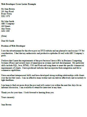web developer cover letter  icoverorguk