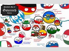Polandball Map of Austria + some surrounding countries
