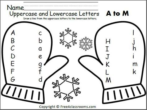 Free Mitten Match Uppercase Lowercase Letters Worksheet Match The Letters A To M Teacher