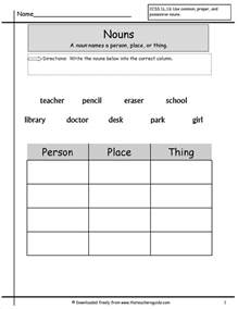nouns for worksheets free grammar and language arts from the 39 s guide