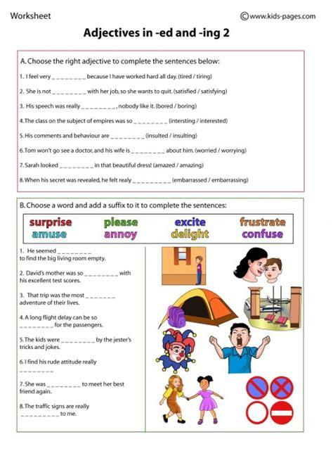 adjectives  ed  ing  worksheet